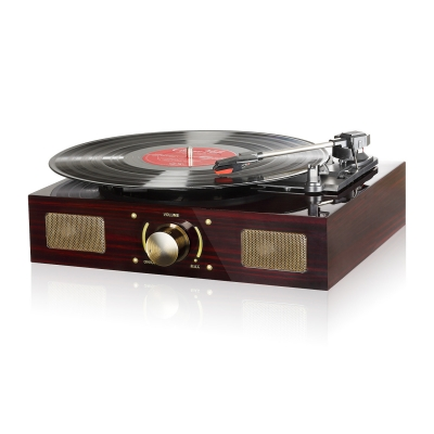 Vinyl Record Player, LuguLake Turntable with Stereo 3-Speed, Built-in Speakers, Record Player, Vintage Phonograph with Retro Wooden Finish